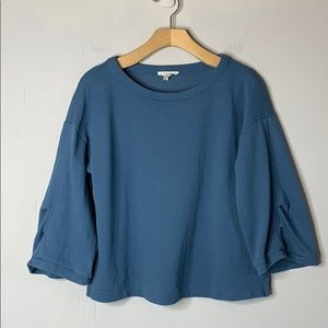 Eileen Fisher Blue Organic Cotton Knit Top